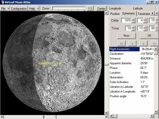 """Вид Луны в 19 часов 13 минут всемирного времени 15 апреля 1970 года по данным программы """"Виртуальный атлас Луны""""."""