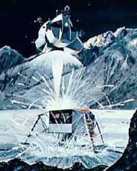 Взлетная ступень «Аполлона» поднимается с Луны (рисунок)