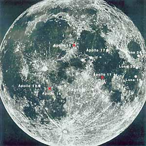 """Карта мест посадок """"Аполлонов"""", а также советских станций """"Луна"""". Красным цветом показано расположение лазерных отражателей, оставленных астронавтами """"Аполлона-11"""", """"-14"""" и """"-15""""."""